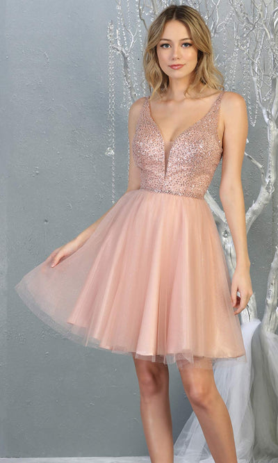 Mayqueen MQ1797 short blush pink sequin flowy vneck grade 8 graduation dress w/ straps & puffy skirt. Light pink party dress is perfect for prom, graduation, grade 8 grad, confirmation dress, bat mitzvah dress, damas. Plus sizes avail for grad dress.jpg