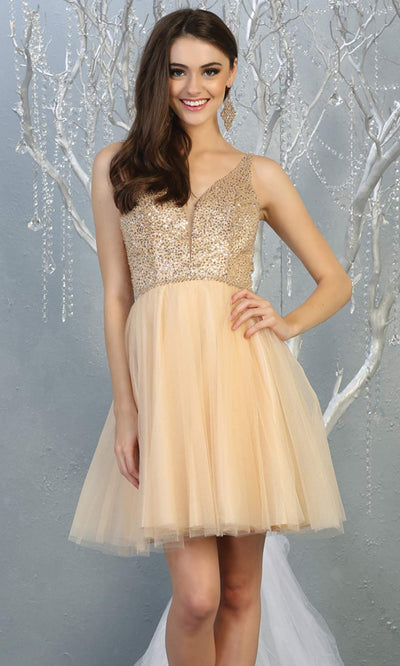 Mayqueen MQ1797 short champagne sequin flowy vneck grade 8 graduation dress w/ straps & puffy skirt. Light gold party dress is perfect for prom, graduation, grade 8 grad, confirmation dress, bat mitzvah dress, damas. Plus sizes avail for grad dress.jpg