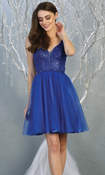 Mayqueen MQ1797 short royal blue sequin flowy vneck grade 8 graduation dress w/ straps & puffy skirt. Blue party dress is perfect for prom, graduation, grade 8 grad, confirmation dress, bat mitzvah dress, damas. Plus sizes avail for grad dress.jpg