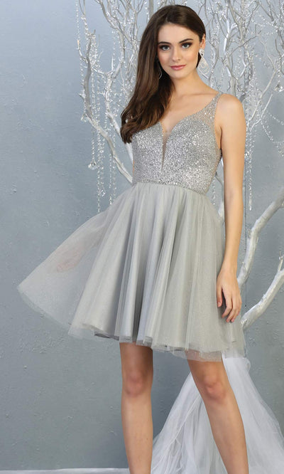 Mayqueen MQ1797 short silver grey sequin flowy vneck grade 8 graduation dress w/ straps & puffy skirt. Light gray party dress is perfect for prom, graduation, grade 8 grad, confirmation dress, bat mitzvah dress, damas. Plus sizes avail for grad dress.jpg
