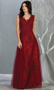 Mayqueen MQ1799 long burgundy red v neck evening fitted dress. Full length dark red lace gown w/skirt overlay is perfect for  enagagement/e-shoot dress, formal wedding guest, indowestern gown, evening party dress, prom, bridesmaid. Plus sizes avail.jpg