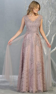 Mayqueen MQ1799 long mauve v neck evening fitted dress. Full length dusty rose lace gown w/skirt overlay is perfect for  enagagement/e-shoot dress, formal wedding guest, indowestern gown, evening party dress, prom, bridesmaid. Plus sizes avail-2.jpg
