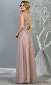 Mayqueen MQ1799 long mauve v neck evening fitted dress. Full length dusty rose lace gown w/skirt overlay is perfect for  enagagement/e-shoot dress, formal wedding guest, indowestern gown, evening party dress, prom, bridesmaid. Plus sizes avail-b.jpg