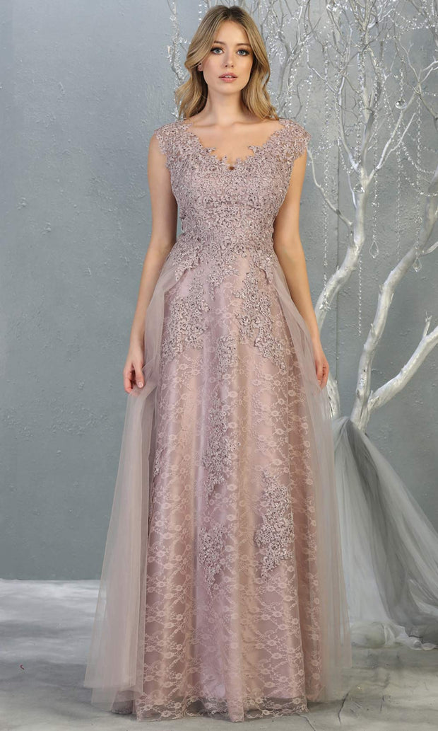 Mayqueen MQ1799 long mauve v neck evening fitted dress. Full length dusty rose lace gown w/skirt overlay is perfect for  enagagement/e-shoot dress, formal wedding guest, indowestern gown, evening party dress, prom, bridesmaid. Plus sizes avail.jpg