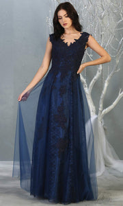 Mayqueen MQ1799 long navy blue v neck evening fitted dress. Full length dark blue lace gown w/skirt overlay is perfect for  enagagement/e-shoot dress, formal wedding guest, indowestern gown, evening party dress, prom, bridesmaid. Plus sizes avail.jpg