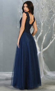 Mayqueen MQ1799 long navy blue v neck evening fitted dress. Full length dark blue lace gown w/skirt overlay is perfect for  enagagement/e-shoot dress, formal wedding guest, indowestern gown, evening party dress, prom, bridesmaid. Plus sizes avail-b.jpg