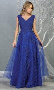 Mayqueen MQ1799 long royal blue v neck evening fitted dress. Full length royal blue lace gown w/skirt overlay is perfect for  enagagement/e-shoot dress, formal wedding guest, indowestern gown, evening party dress, prom, bridesmaid. Plus sizes avail.jpg