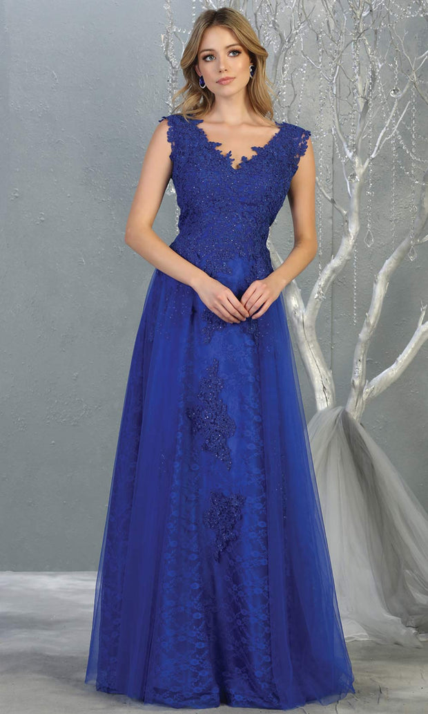 Mayqueen MQ1799 long royal blue v neck evening fitted dress. Full length royal blue lace gown w/skirt overlay is perfect for  enagagement/e-shoot dress, formal wedding guest, indowestern gown, evening party dress, prom, bridesmaid. Plus sizes avail-2.jpg