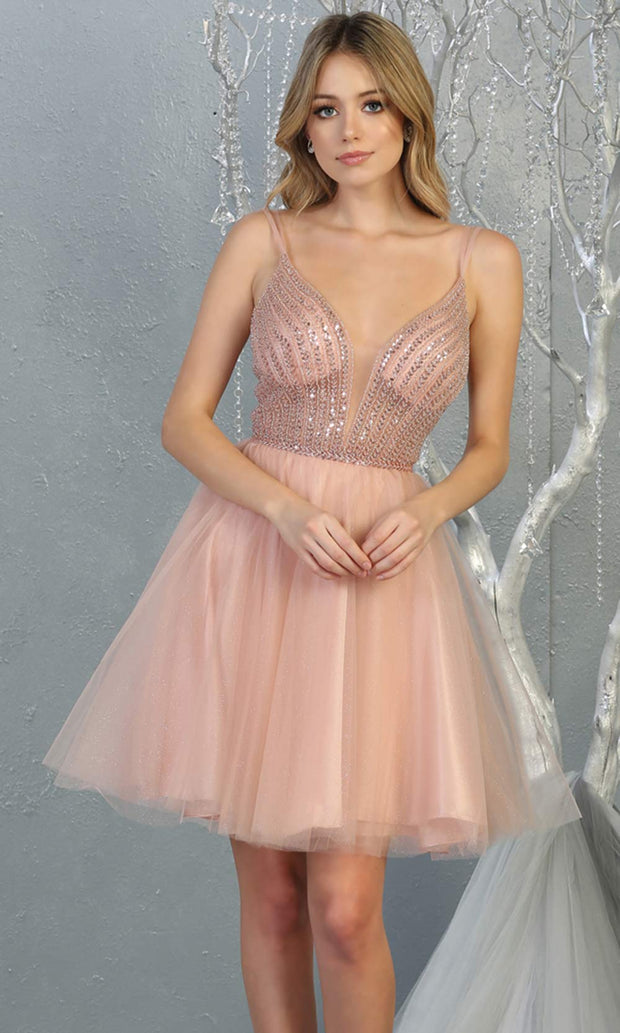 Mayqueen MQ1800 short blush pink sequin flowy vneck grade 8 graduation dress w/ straps & puffy skirt. Light pink party dress is perfect for prom, graduation, grade 8 grad, confirmation dress, bat mitzvah dress, damas. Plus sizes avail for grad dress.jpg