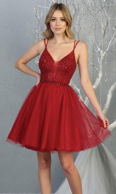 Mayqueen MQ1800 short burgundy red sequin flowy vneck grade 8 graduation dress w/ straps & puffy skirt. Dark red party dress is perfect for prom, graduation, grade 8 grad, confirmation dress, bat mitzvah dress, damas. Plus sizes avail for grad dress.jpg