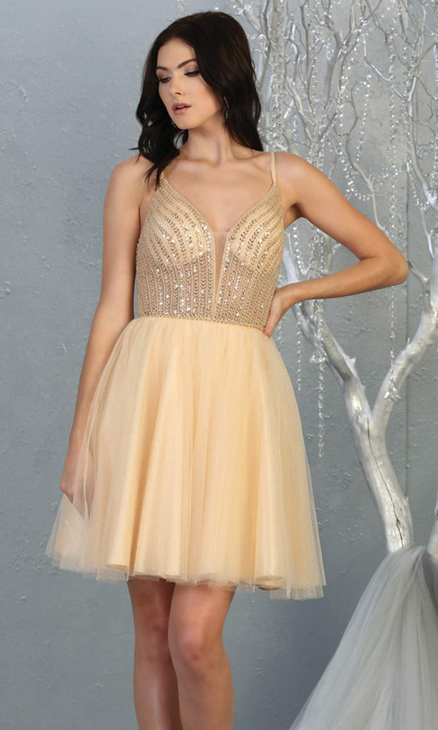 Mayqueen MQ1800 short champagne sequin flowy vneck grade 8 graduation dress w/ straps & puffy skirt. Light gold party dress is perfect for prom, graduation, grade 8 grad, confirmation dress, bat mitzvah dress, damas. Plus sizes avail for grad dress.jpg