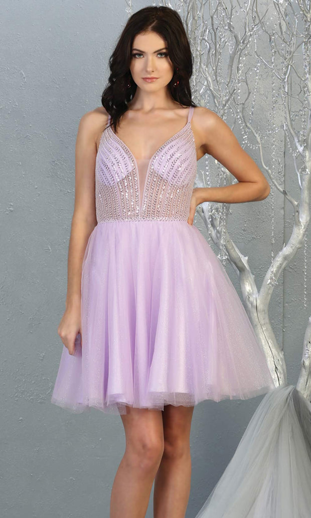 Mayqueen MQ1800 short lilac sequin flowy vneck grade 8 graduation dress w/ straps & puffy skirt. Light purple party dress is perfect for prom, graduation, grade 8 grad, confirmation dress, bat mitzvah dress, damas. Plus sizes avail for grad dress.jpg