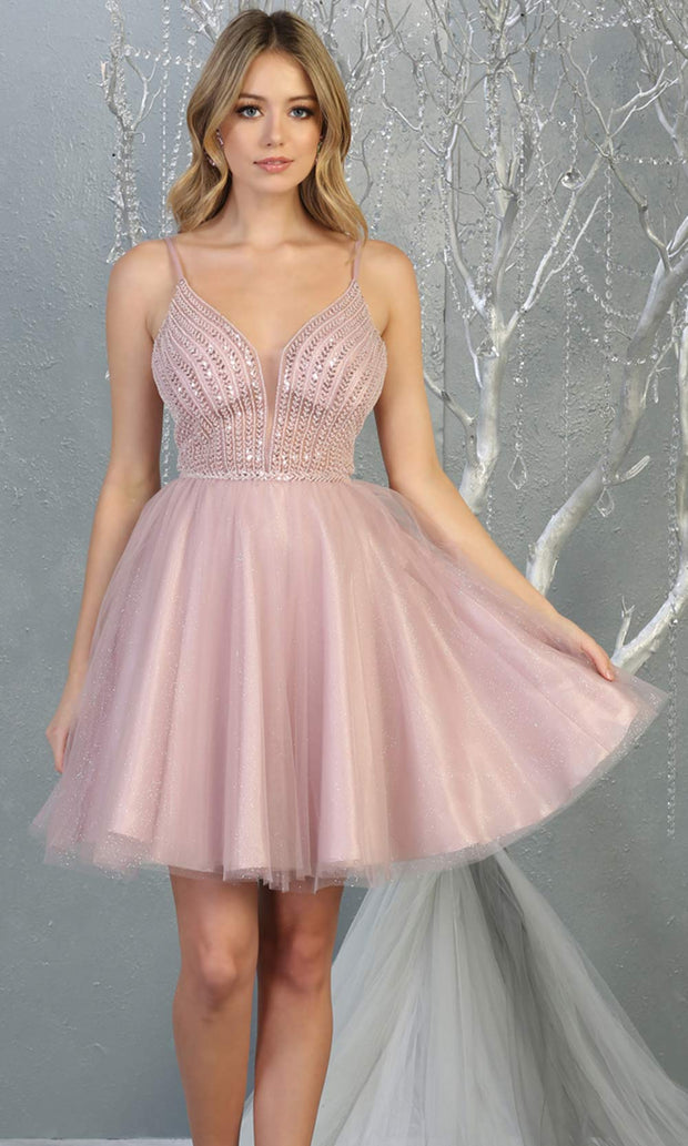 Mayqueen MQ1800 short mauve sequin flowy vneck grade 8 graduation dress w/ straps & puffy skirt. Dusty rose party dress is perfect for prom, graduation, grade 8 grad, confirmation dress, bat mitzvah dress, damas. Plus sizes avail for grad dress.jpg