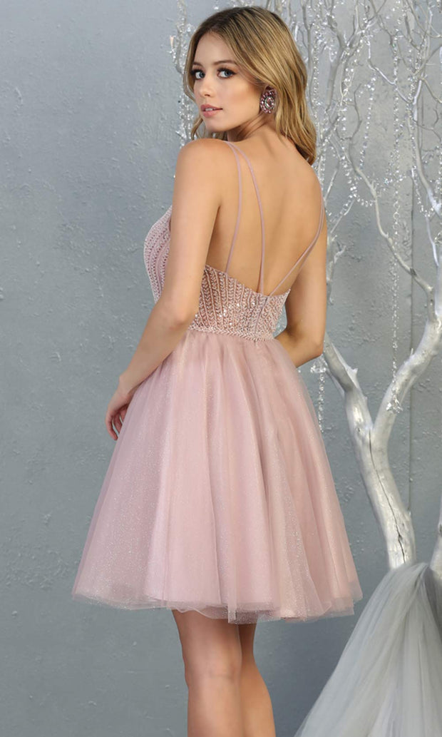 Mayqueen MQ1800 short mauve sequin flowy vneck grade 8 graduation dress w/ straps & puffy skirt. Dusty rose party dress is perfect for prom, graduation, grade 8 grad, confirmation dress, bat mitzvah dress, damas. Plus sizes avail for grad dress-b.jpg