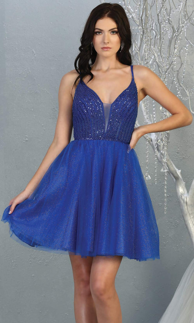 Mayqueen MQ1800 short royal blue sequin flowy vneck grade 8 graduation dress w/ straps & puffy skirt. Blue party dress is perfect for prom, graduation, grade 8 grad, confirmation dress, bat mitzvah dress, damas. Plus sizes avail for grad dress.jpg