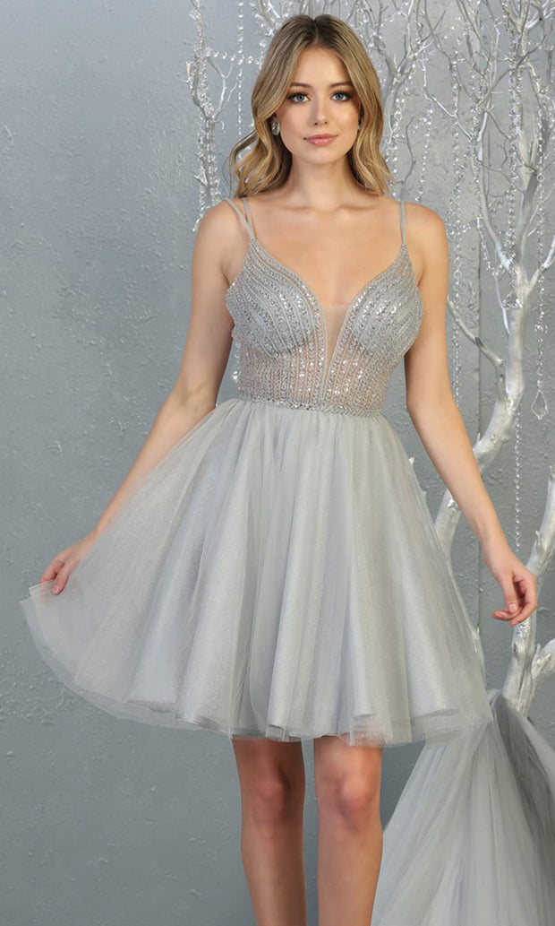 Mayqueen MQ1800 short silver grey sequin flowy vneck grade 8 graduation dress w/ straps & puffy skirt. Light gray party dress is perfect for prom, graduation, grade 8 grad, confirmation dress, bat mitzvah dress, damas. Plus sizes avail for grad dress.jpg