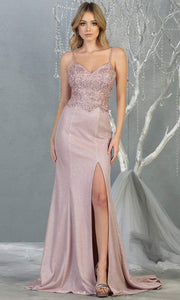 Mayqueen MQ1801 long mauve v neck evening fitted dress. Full length dusty rose glittery gown w/ high slit is perfect for  enagagement/e-shoot dress, formal wedding guest, indowestern gown, evening party dress, prom, bridesmaid. Plus sizes avail.jpg