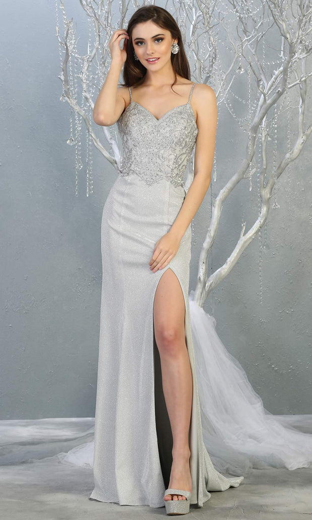 Mayqueen MQ1801 long silver grey v neck evening fitted dress. Full length light gray glittery gown w/ high slit is perfect for  enagagement/e-shoot dress, formal wedding guest, indowestern gown, evening party dress, prom, bridesmaid. Plus sizes avail.jpg