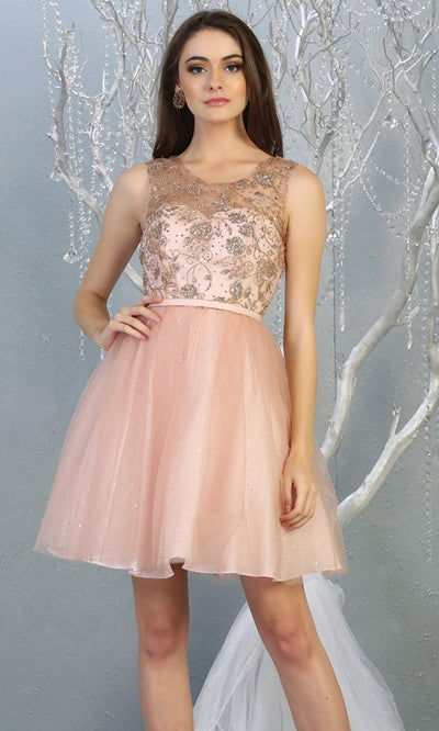Mayqueen MQ1803 short blush pink sequin flowy high neck grade 8 graduation dress w/puffy skirt. Light pink party dress is perfect for prom, graduation, grade 8 grad, confirmation dress, bat mitzvah dress, damas. Plus sizes avail for grad dress.jpg