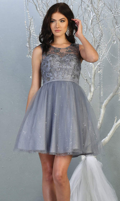 Mayqueen MQ1803 short dusty blue sequin flowy high neck grade 8 graduation dress w/puffy skirt. Dusty blue party dress is perfect for prom, graduation, grade 8 grad, confirmation dress, bat mitzvah dress, damas. Plus sizes avail for grad dress.jpg