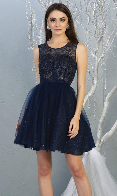 Mayqueen MQ1803 short navy blue sequin flowy high neck grade 8 graduation dress w/puffy skirt. Dark blue party dress is perfect for prom, graduation, grade 8 grad, confirmation dress, bat mitzvah dress, damas. Plus sizes avail for grad dress.jpg