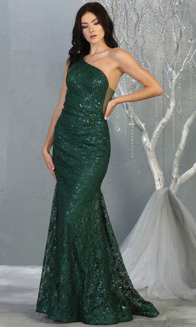 Mayqueen MQ1804 long hunter green evening fitted mermaid dress. Full length dark green one shoulder sequin dress is perfect for  enagagement/e-shoot dress,formal wedding guest,indowestern gown, evening party dress, prom, bridesmaid. Plus sizes avail.jpg