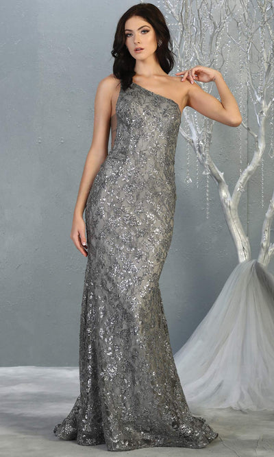 Mayqueen MQ1804 long silver grey evening fitted mermaid dress. Full length dark gray one shoulder sequin dress is perfect for  enagagement/e-shoot dress,formal wedding guest,indowestern gown, evening party dress, prom, bridesmaid. Plus sizes avail.jpg