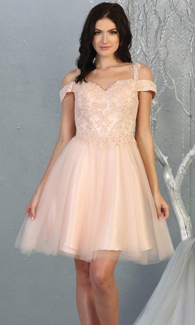 Mayqueen MQ1809 short blush pink off shoulder, flowy grade 8 graduation dress w/puffy skirt. Light pink party dress is perfect for prom, graduation, grade 8 grad, confirmation dress, bat mitzvah dress, damas. Plus sizes avail for grad dress.jpg