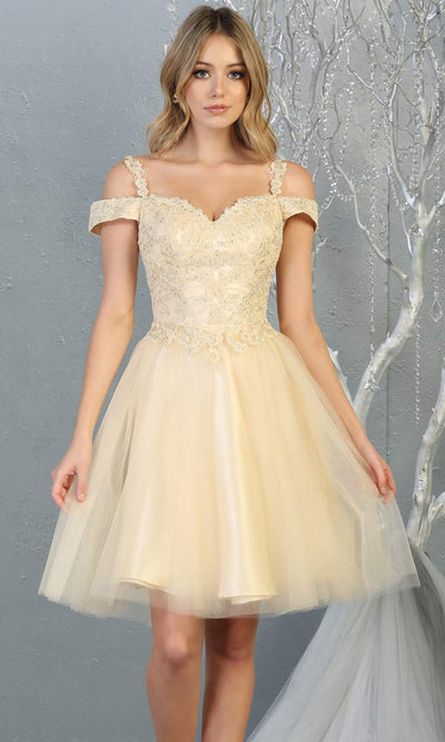 Mayqueen MQ1809 short champagne off shoulder, flowy grade 8 graduation dress w/puffy skirt. Light gold party dress is perfect for prom, graduation, grade 8 grad, confirmation dress, bat mitzvah dress, damas. Plus sizes avail for grad dress.jpg