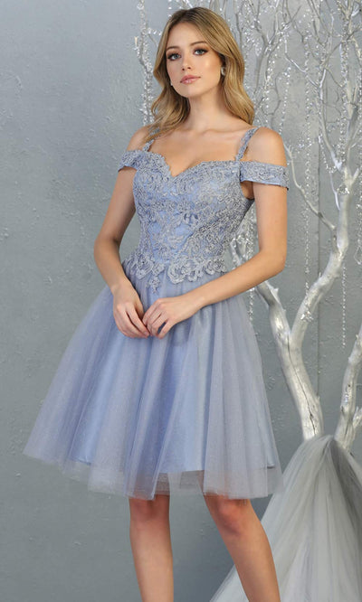 Mayqueen MQ1809 short dusty blue off shoulder, flowy grade 8 graduation dress w/puffy skirt. Dusty blue party dress is perfect for prom, graduation, grade 8 grad, confirmation dress, bat mitzvah dress, damas. Plus sizes avail for grad dress.jpg