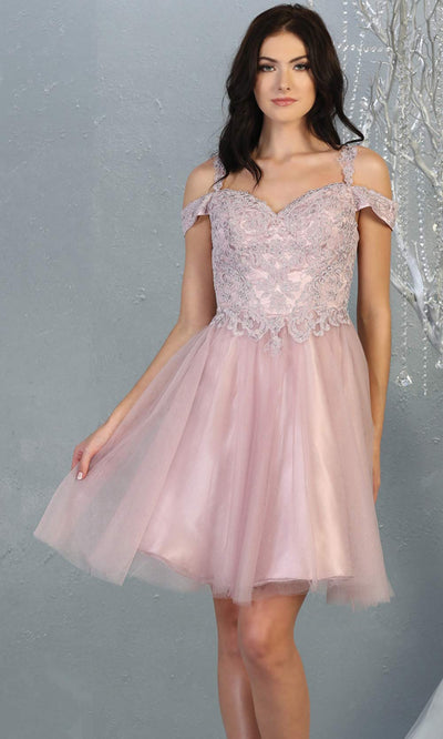 Mayqueen MQ1809 short mauve off shoulder, flowy grade 8 graduation dress w/puffy skirt. Dusty rose party dress is perfect for prom, graduation, grade 8 grad, confirmation dress, bat mitzvah dress, damas. Plus sizes avail for grad dress.jpg