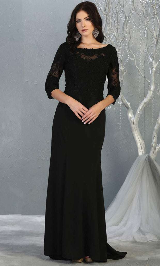 Mayqueen MQ1810 long black modest flowy dress w/ long sleeves. Black chiffon & lace top is perfect for  mother of the bride, formal wedding guest, indowestern gown, evening party dress, dark red muslim party dress. Plus sizes avail.jpg