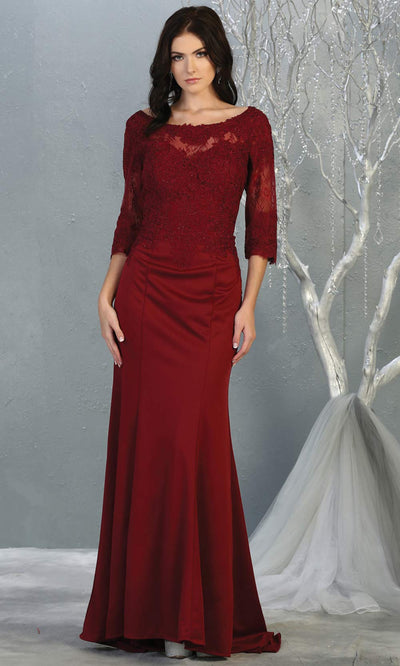 Mayqueen MQ1810 long burgundy red modest flowy dress w/ long sleeves. Dark red chiffon & lace top is perfect for  mother of the bride, formal wedding guest, indowestern gown, evening party dress, dark red muslim party dress. Plus sizes avail.jpg