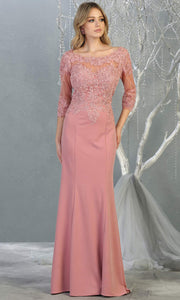 Mayqueen MQ1810 long mauve modest flowy dress w/ long sleeves. Dusty rose chiffon & lace top is perfect for  mother of the bride, formal wedding guest, indowestern gown, evening party dress, dark red muslim party dress. Plus sizes avail.jpg