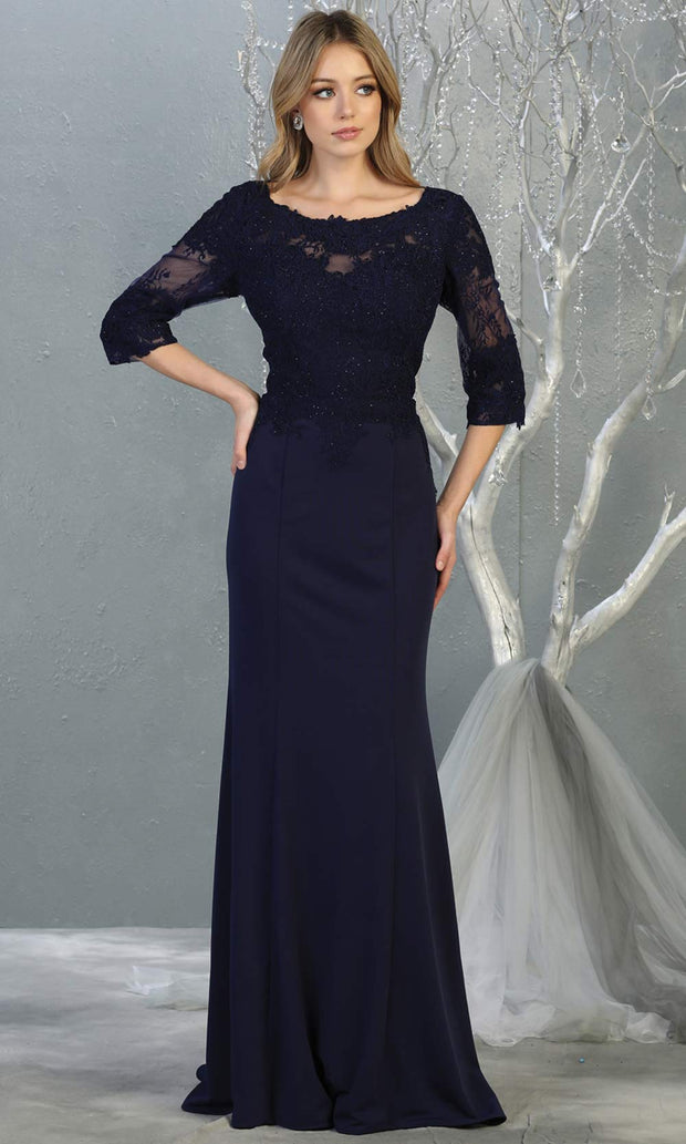 Mayqueen MQ1810 long navy blue modest flowy dress w/ long sleeves. Dark blue chiffon & lace top is perfect for  mother of the bride, formal wedding guest, indowestern gown, evening party dress, dark red muslim party dress. Plus sizes avail.jpg