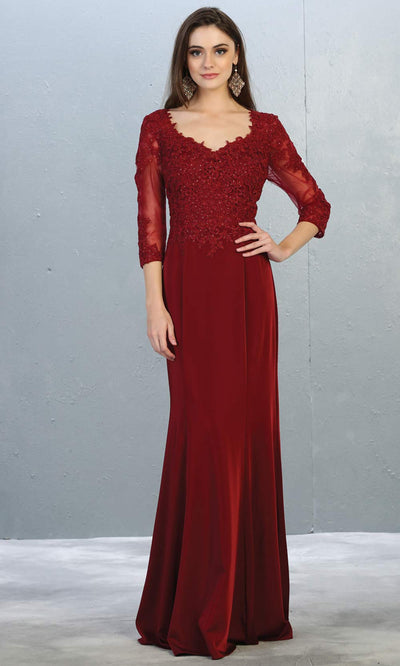 Mayqueen MQ1811 long burgundy red modest flowy dress w/ long sleeves. Dark red chiffon & lace top is perfect for  mother of the bride, formal wedding guest, indowestern gown, evening party dress, dark red muslim party dress. Plus sizes avail.jpg