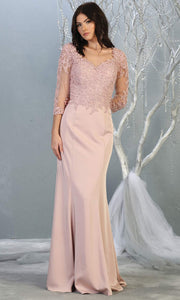 Mayqueen MQ1811 long dusty rose modest flowy dress w/ long sleeves. Light pink chiffon & lace top is perfect for  mother of the bride, formal wedding guest, indowestern gown, evening party dress, dark red muslim party dress. Plus sizes avail.jpg