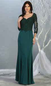 Mayqueen MQ1811 long hunter green modest flowy dress w/ long sleeves. Dark green chiffon & lace top is perfect for  mother of the bride, formal wedding guest, indowestern gown, evening party dress, dark red muslim party dress. Plus sizes avail.jpg