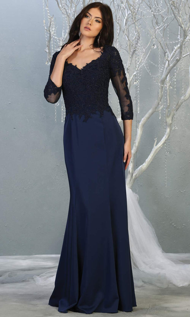 Mayqueen MQ1811 long navy blue modest flowy dress w/ long sleeves. Dark blue chiffon & lace top is perfect for  mother of the bride, formal wedding guest, indowestern gown, evening party dress, dark red muslim party dress. Plus sizes avail.jpg