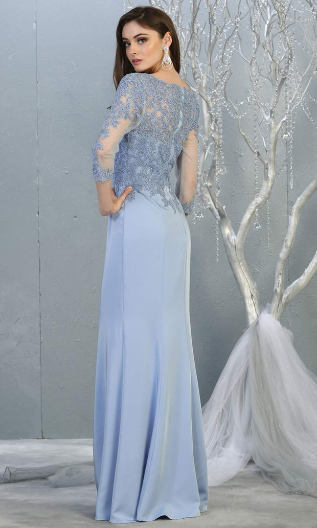 Mayqueen MQ1811 long perry blue modest flowy dress w/ long sleeves. Light blue chiffon & lace top is perfect for  mother of the bride, formal wedding guest, indowestern gown, evening party dress, dark red muslim party dress. Plus sizes avail-b.jpg