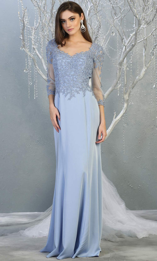 Mayqueen MQ1811 long perry blue modest flowy dress w/ long sleeves. Light blue chiffon & lace top is perfect for  mother of the bride, formal wedding guest, indowestern gown, evening party dress, dark red muslim party dress. Plus sizes avail.jpg