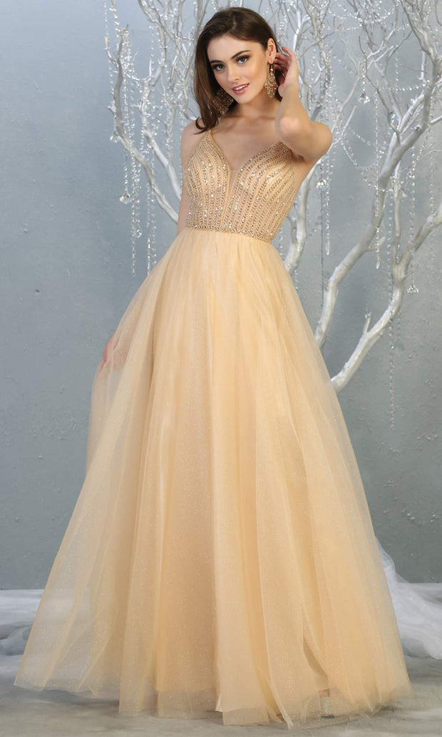 Mayqueen MQ1812 long champagne v neck evening flowy tulle dress. Full length light gold beaded top w/wide straps is perfect for  enagagement/e-shoot dress, formal wedding guest, indowestern gown, evening party dress, prom, bridesmaid. Plus sizes avail.jpg