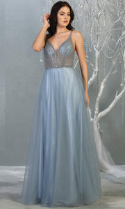 Mayqueen MQ1812 long dusty blue v neck evening flowy tulle dress.Full length dusty blue beaded top w/wide straps is perfect for  enagagement/e-shoot dress, formal wedding guest, indowestern gown, evening party dress, prom, bridesmaid. Plus sizes avail.jpg