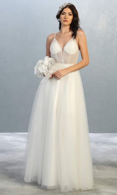 Mayqueen MQ1812 long ivory v neck evening flowy tulle dress.Full length ivory beaded top w/wide straps is perfect for  enagagement/e-shoot dress, simple wedding dress, second wedding bridal gown, court/civil wedding, destination wedd. Plus sizes avail.jpg
