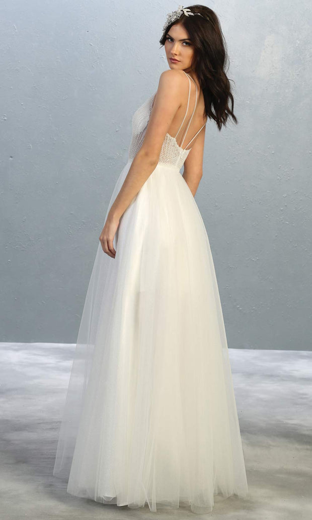 Mayqueen MQ1812 long ivory v neck evening flowy tulle dress.Full length ivory beaded top w/wide straps is perfect for  enagagement/e-shoot dress,simple wedding dress, second wedding bridal gown,court/civil wedding, destination wedd. Plus sizes avail-b.jpg
