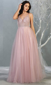 Mayqueen MQ1812 long mauve pink v neck evening flowy tulle dress.Full length dusty rose beaded top w/wide straps is perfect for  enagagement/e-shoot dress, formal wedding guest, indowestern gown, evening party dress, prom, bridesmaid. Plus sizes avail.jpg