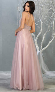 Mayqueen MQ1812 long mauve pink v neck evening flowy tulle dress.Full length dusty rose beaded top w/wide straps is perfect for  enagagement/e-shoot dress, formal wedding guest, indowestern gown, evening party dress,prom, bridesmaid.Plus sizes avail-b.jpg
