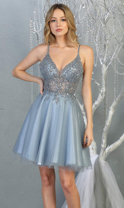 Mayqueen MQ1813 short dusty blue sequin flowy vneck grade 8 graduation dress w/ straps & puffy skirt. Dusty blue party dress is perfect for prom, graduation, grade 8 grad, confirmation dress, bat mitzvah dress, damas. Plus sizes avail for grad dress.jpg