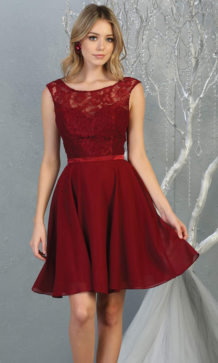 Mayqueen MQ1814 short burgundy red high neck flowy grade 8 graduation dress w/ corset & simple skirt. Dark red party dress is perfect for prom, graduation, grade 8 grad, confirmation dress, bat mitzvah dress, damas. Plus sizes avail for grad dress.jpg