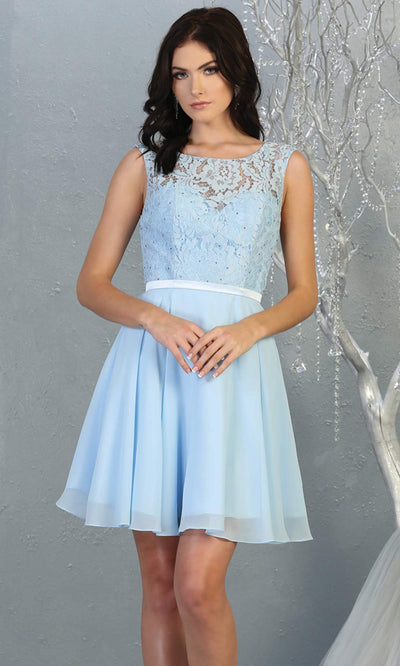 Mayqueen MQ1814 short light blue high neck flowy grade 8 graduation dress w/ corset & simple skirt. Light blue party dress is perfect for prom, graduation, grade 8 grad, confirmation dress, bat mitzvah dress, damas. Plus sizes avail for grad dress.jpg